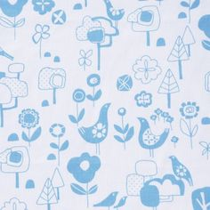 SALE - Spring Birds screen-printed fabric panel (sky blue on white)