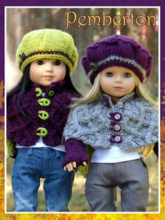 Pemberton, a front-fastening capelet complete with fingerless-mitts knitting pattern for American Girl Dolls
