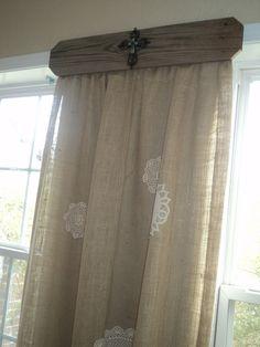 Doilies on burlap. What a great idea for unique drapery!