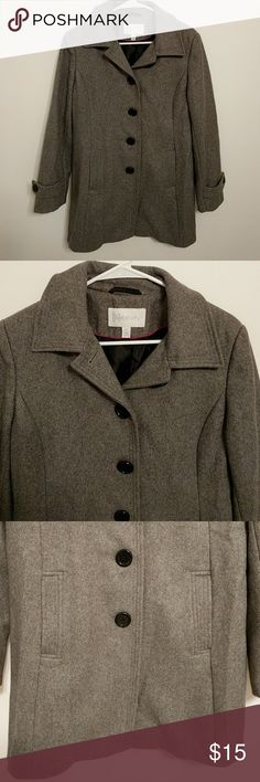 Wool coat by relativity This is made of wool, viscose, polyester, and nylon. This coat is in excellent condition. This coat is 33 in Long Relativity Jackets & Coats