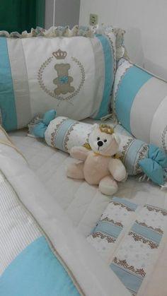 Kit Berço Bebê Urso Rei Azul Claro com Dossel 15 Peças