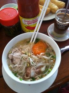Kuy Teau Pork Noodle Soup & Cambodian Coffee for Breakfast in Siem Reap, Cambodia.  I would eat this every day!