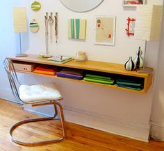 DIY Project: Minimalist Hanging Oak Desk. This stunning hanging desk is a great space saver. You can make just with few boards at home.