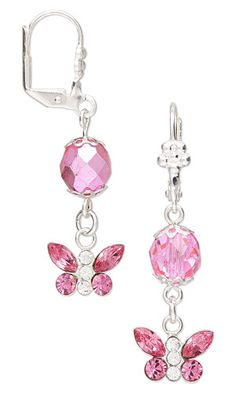Butterfly Earrings with Swarovski Crystal and Sterling Silver Charms and Czech Fire-Polished Glass Beads. Design by Rose Wingenbach. FREE Project with Instructions. #FMG Design Idea CB6K  #charms