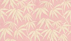 Misaki (75931) - Harlequin Wallpapers - A strong design with a bamboo leaf trail, with the separate leaves individually patterned. Available in 7 colours - shown in the stone and grey on vivid sugar pink version. Please ask for sample for true colour match.
