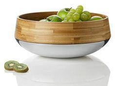 Obst-/Salatschüssel von Stelton aus Bambus und Edelstahl