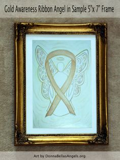 Gold Childhood Cancer Awareness Ribbon Angel by AwarenessGallery