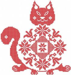 Red cat cross stitch free embroidery design - Cross stitch machine embroidery - Machine embroidery forum