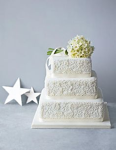 Shimmering Hoop Chocolate Wedding Cake White Pink By Marks Spencer