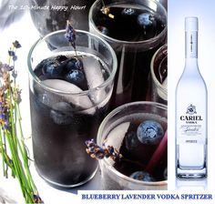 Blueberry Lavender Vodka Spritzer. The 10-Minute Happy Hour  - You can also flash freeze blueberries and use the frozen berries as ice cubes to make this pitcher full even more inviting.