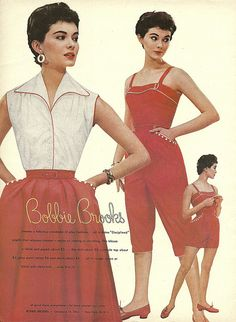 1954 charm Bobbie Brooks color photo print ad models magazine vintage fashion red white summer sports wear shirt skirt playsuit jumpsuit shorts pants matching 50s era pedal pushers