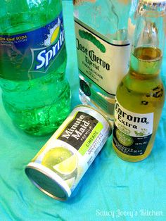 Beergaritas Mix 1 part tequila, 2 parts Corona, 2 parts limeade frozen concentrate, 2 parts sprite, and a spritz of lime. Margarita Recipe With Sprite, Tequila And Sprite, Drinks With Sprite, Sprite Recipe, Limeade Margarita, Tequila Beer, Tequila Drinks, Margarita Recipes, Fun Drinks