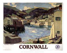 Cornwall. Polperro Harbour. Vintage Railway Posters. Buy Here: http://www.vintagerailposters.co.uk/Photo/378-Cornwall-polperro-Harbour#.Uuk6sPl_tqU