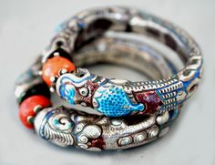 Silver , coral  and emameling on dragon bangles from Mongolia early 20th c (private collection Linda Pastorino)