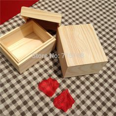 Zakka Small Wooden Box With Separate Lid  For Festival Gift Card Box Or Jewelry Package Watch Box  Inner Size 8.5 * 6.5 * 5 cm