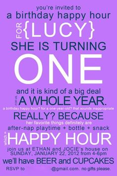 Lucys First Birthday Happy Hour