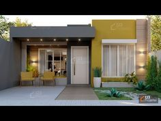 Modern Small House Design, Simple House Design, Minimalist House Design, Model House Plan, My House Plans, Small House Plans, Bungalow Haus Design, Modern Bungalow House, Bungalow Designs