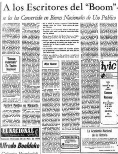 """Escritores del """"Boom"""" Publicado el 25 de noviembre de 1970"""