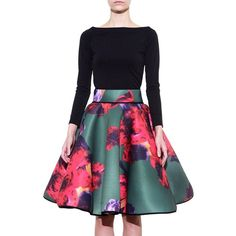 Abbie Skirt - Skirt In MEDIUM AND LARGE.Midi skirts don't always have to be categorized as the conservative older sister of the rebellious mini. In fact, they have a rebellious side of their own; or at least the Abbieskirt does.Teamed up nicely with a flirty crop top, this neoprene midi is anointed with a forest-green hue, and sporadically masked by a vibrant floral rose print. In true midi fashion, the skirt sits high on the waist and is slightly pleated to insure a full silhouette of the…