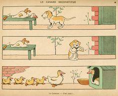 Benjamin Rabier, « Le canard reconstitué », extrait de  « Les animaux s'amusent », Garnier, 1911.