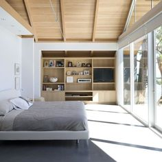 A calm peaceful scene from this @baiarchitects designed home for your Saturday night. You can see the mood I am in pajamas on looking at past projects specifically beautiful serene bedrooms as my eyes droop heavy and I sip tea....#architecture #archilovers  #contemporary #interiordesign #interiors #interiordesigner #architettura #architecturephotography #architectureporn by thepallou