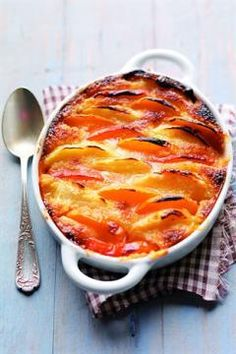 "Apricot and Peach Tian with Almond Cream - from ""Larousse Cuisine"". Köstliche Desserts, Delicious Desserts, Dessert Recipes, Yummy Food, Comida Judaica, Food Inspiration, Sweet Recipes, Love Food, Food And Drink"