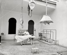 "New York circa 1900. ""Operating room in Brooklyn Navy Yard Hospital."" 8x10 inch dry plate glass negative, Detroit Publishing Company."