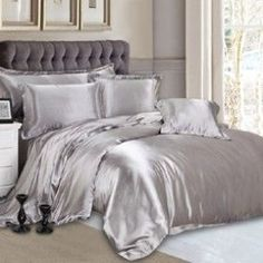 Perfect Silver Silk Bed Linen