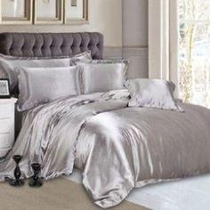 Lovely Silver Silk Bed Linen