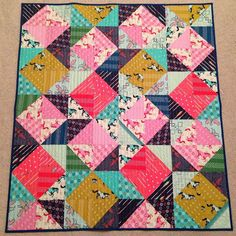 """""""Finished my HST #cottonandsteel quilt.  So glad to be finished!  @bumbletees"""""""