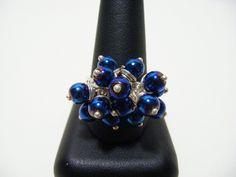 Metallic Blue Colour Coated Hematite Adjustable Ring £14.00