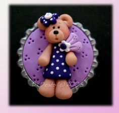 *POLYMER CLAY ~ Purple Dress Bear Polymer Clay Bottle Cap Bead, Scrapbooking, Bow Center, Pendant, Cupcake topper, Magnet