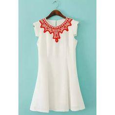 Cute Scoop Collar Short Sleeve Chiffon Dress For Women, WHITE, M in Chiffon Dresses | DressLily.com
