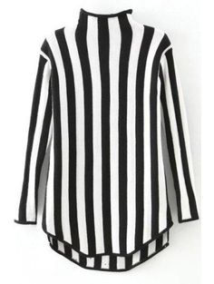 Zaful - Zaful Stand Neck Long Sleeve Vertical Stripes Sweater - AdoreWe.com