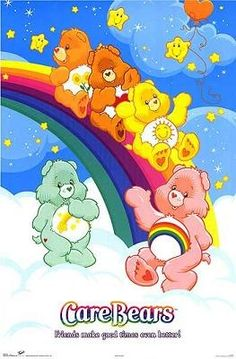 Care Bears on the wall / bedding
