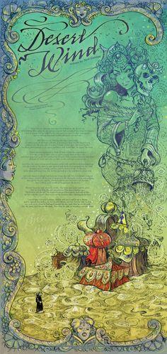 'Desert Wind' print by Molly Crabapple w/ Neil Gaiman's words.
