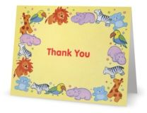 Thank You Folded Note Cards animals baby
