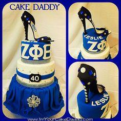 Zeta Phi Beta custom three tiered birthday cake. | Sorority ...
