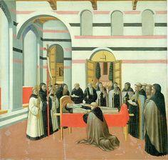 Maestro dell'Osservanza (Sano di Pietro?) - Pala di Sant'Antonio abate: Funerale di sant'Antonio - tempera su tavola - 1440 circa - Washington, National Gallery
