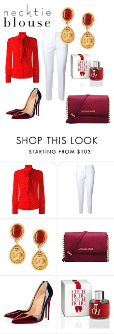 """Necktie Blouse"" by mona-klemetti ❤ liked on Polyvore featuring Yves Saint Laurent, Alberto Biani, Chanel, Michael Kors, Christian Louboutin and Carolina Herrera"