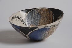 Ceramics by Carolyn Genders at Studiopottery.co.uk - Purple & orange deep rocking bowl (2007) 11hx31wx32d