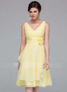 A-Line/Princess V-neck Knee-Length Chiffon Bridesmaid Dress With Flower(s) Cascading Ruffles (007037211) - JJsHouse