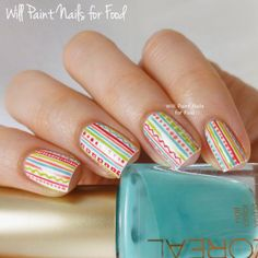 The Neverending Pile Challenge: Day 7, Drugstore Polish: Crazy, Colourful Stripes
