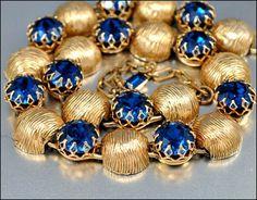 Kramer Gold Crystal Rhinestone Necklace Vintage 1950s