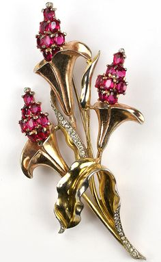 Trifari Sterling 'Alfred Philippe' Two Colour Gold and Rubies Triple Floral Spray Pin