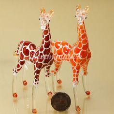 2 Giraffes Hand Blown Glass Animal Miniature Gift Decor Hand Painted   eBay