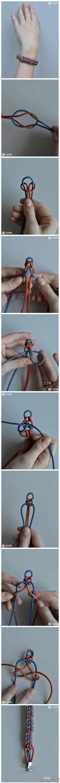 Braiding a Paracord bracelet. Paracord Bracelets, Macrame Bracelets, Handmade Bracelets, Handmade Jewelry, Diy Bracelet, Knotted Bracelet, Chevron Bracelet, Knotted Braid, Bracelet Tutorial