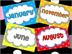 Polka Dots and Cloud Month by Month Labels for Back-to-School - can be used as birthday tags #Free