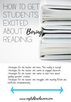 """Reading strategies for secondary students. Do your students complain about """"boring"""" reading? Do you want more student engagement? This post can help. Check it out!"""