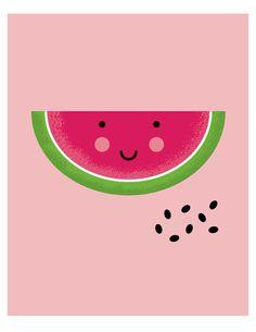 | Cute watermelon nursery art print bedroom by ParadeAndCompany |